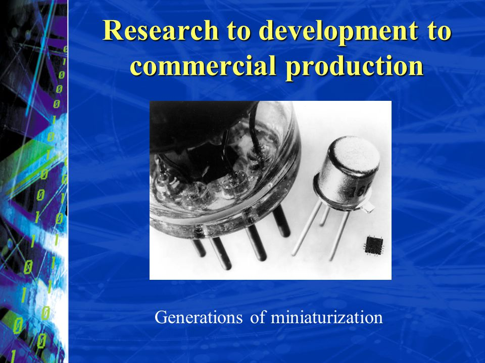 Generations of miniaturization Research to development to commercial production