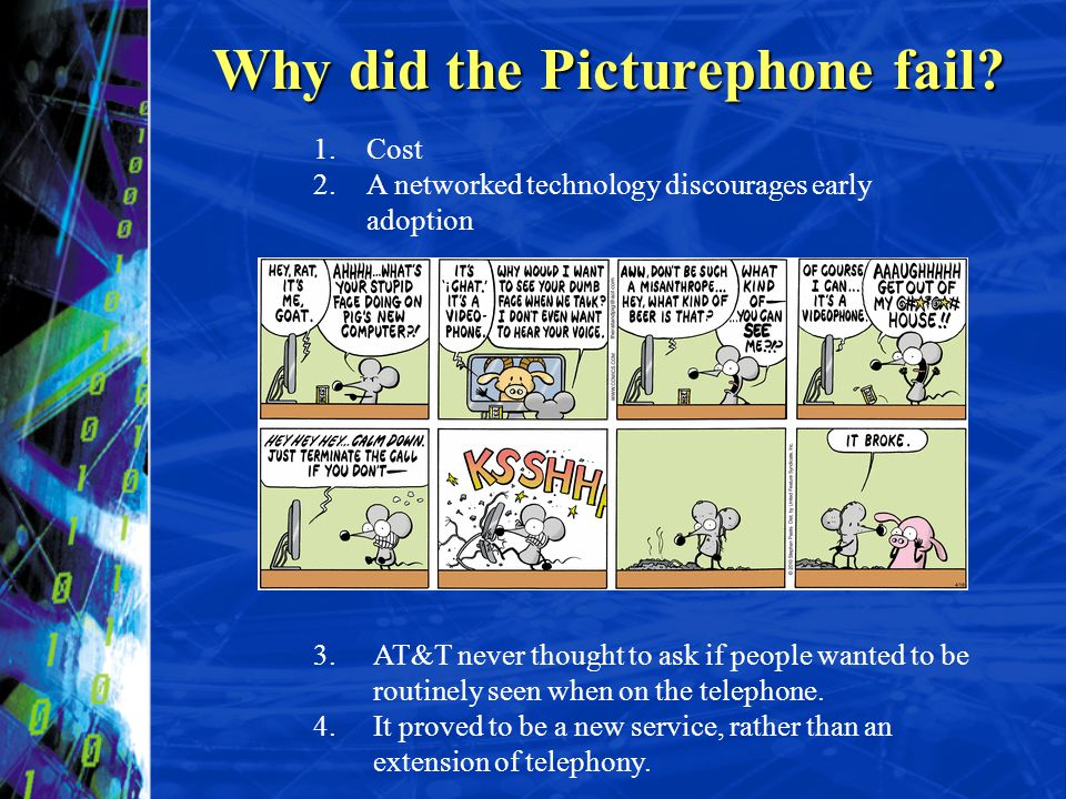 Why did the Picturephone fail? 3.AT&T never thought to ask if people wanted to be routinely seen when on the telephone. 4.It proved to be a new servic