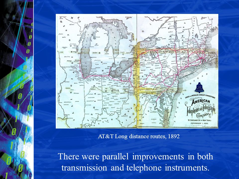 There were parallel improvements in both transmission and telephone instruments. AT&T Long distance routes, 1892