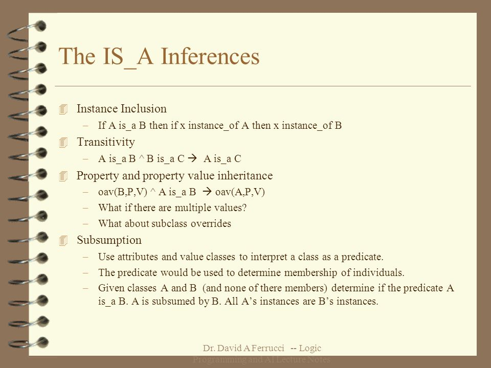 Dr. David A Ferrucci -- Logic Programming and AI Lecture Notes The IS_A Inferences 4 Instance Inclusion –If A is_a B then if x instance_of A then x in