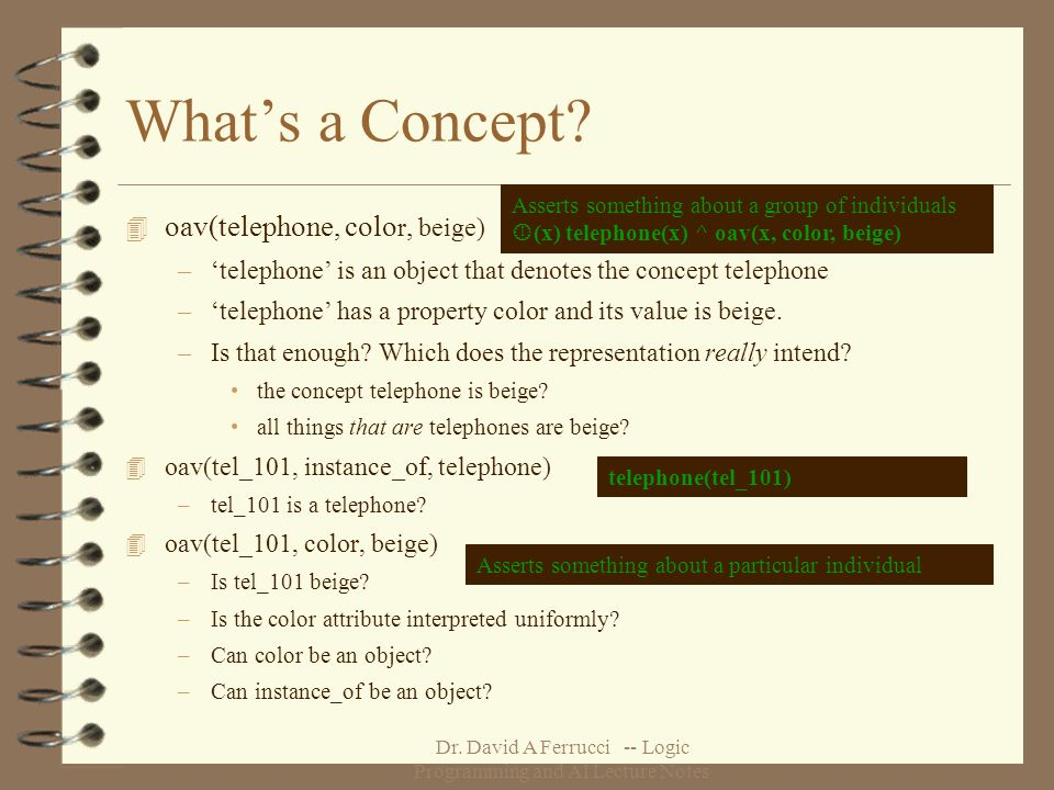 Dr. David A Ferrucci -- Logic Programming and AI Lecture Notes Whats a Concept.