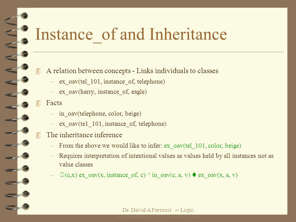 Dr. David A Ferrucci -- Logic Programming and AI Lecture Notes Instance_of and Inheritance 4 A relation between concepts - Links individuals to classe