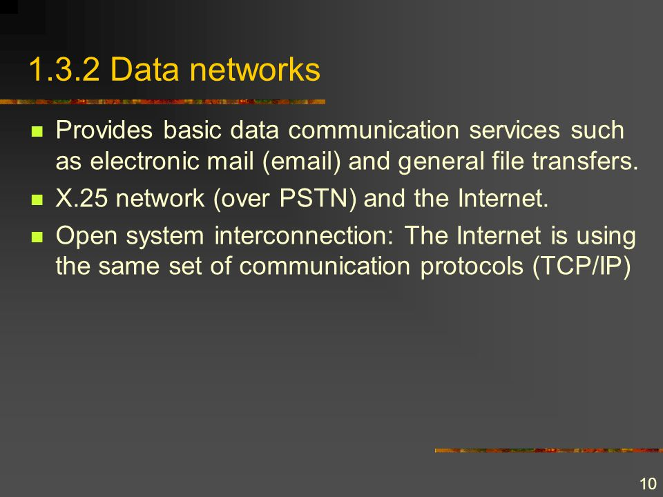 10 1.3.2 Data networks Provides basic data communication services such as electronic mail (email) and general file transfers. X.25 network (over PSTN)