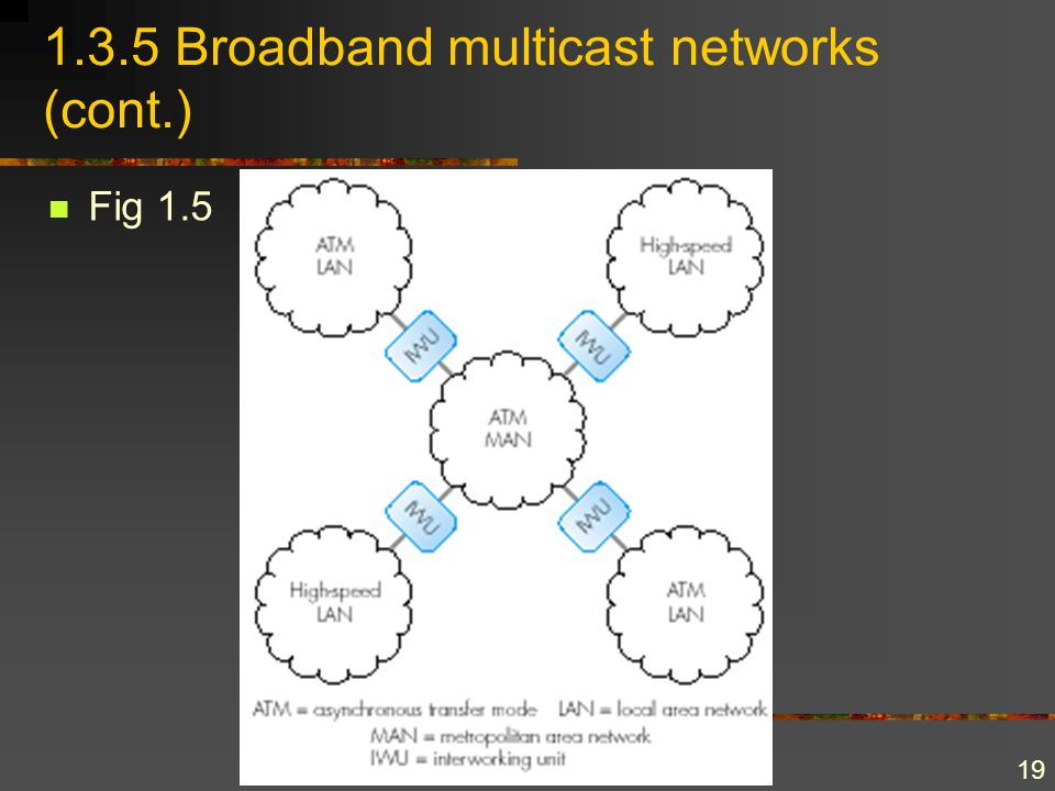 19 1.3.5 Broadband multicast networks (cont.) Fig 1.5