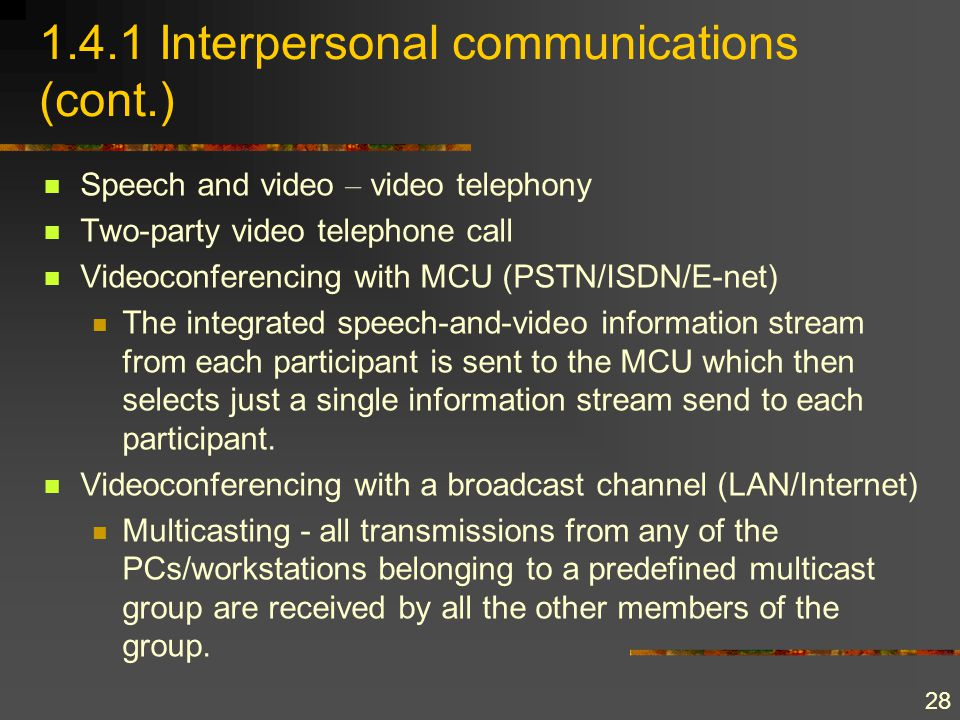 28 1.4.1 Interpersonal communications (cont.) Speech and video – video telephony Two-party video telephone call Videoconferencing with MCU (PSTN/ISDN/