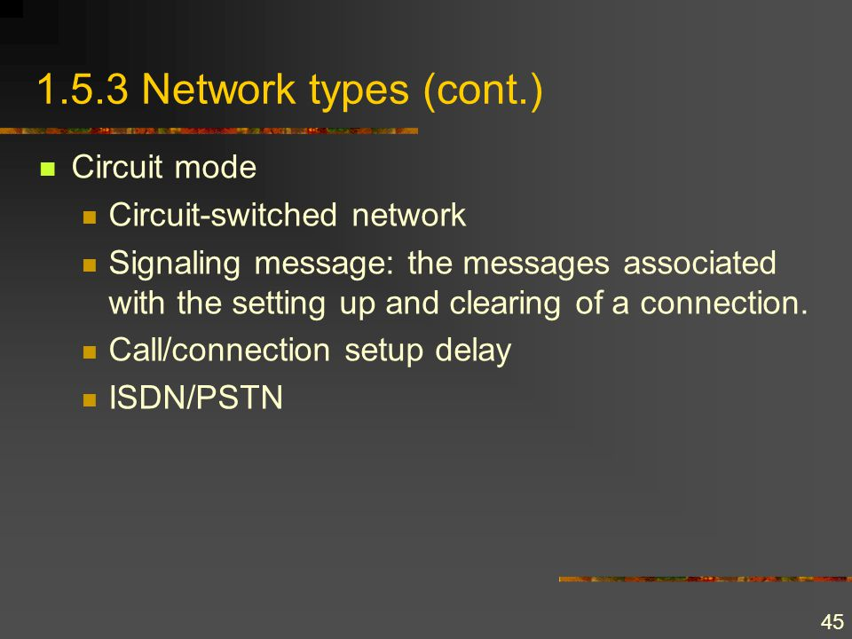 45 1.5.3 Network types (cont.) Circuit mode Circuit-switched network Signaling message: the messages associated with the setting up and clearing of a