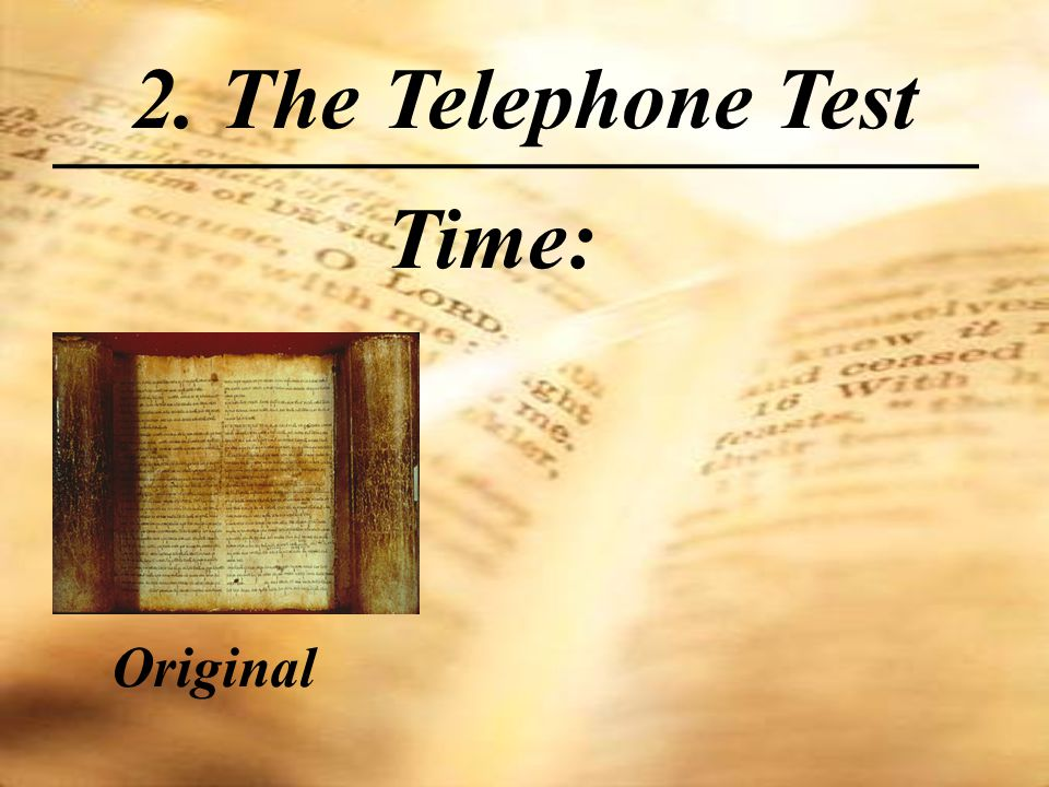 Time: 2. The Telephone Test Original