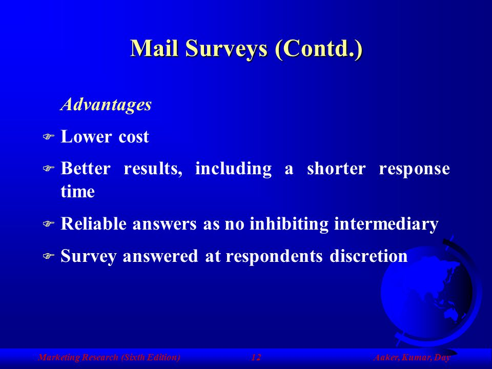 Marketing Research (Sixth Edition)Aaker, Kumar, Day11 Mail Surveys F Requires a broad identification of the individuals to be sampled before data coll