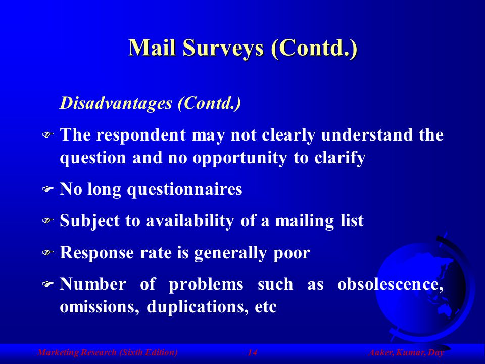 Marketing Research (Sixth Edition)Aaker, Kumar, Day13 Mail Surveys (Contd.) Disadvantages F The identity of the respondent is inadequately controlled