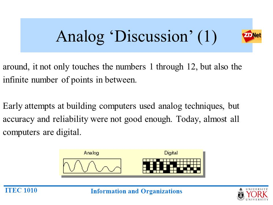 ITEC 1010 Information and Organizations Analog Discussion (1) around, it not only touches the numbers 1 through 12, but also the infinite number of po