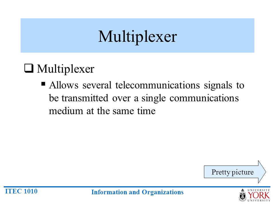 ITEC 1010 Information and Organizations Multiplexer Allows several telecommunications signals to be transmitted over a single communications medium at