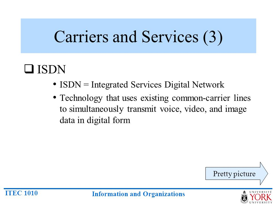 ITEC 1010 Information and Organizations ISDN ISDN = Integrated Services Digital Network Technology that uses existing common-carrier lines to simultan