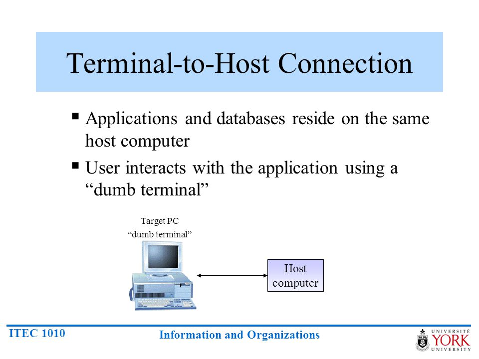 ITEC 1010 Information and Organizations Terminal-to-Host Connection Applications and databases reside on the same host computer User interacts with th