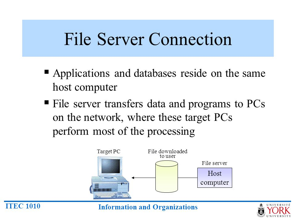 ITEC 1010 Information and Organizations File Server Connection Applications and databases reside on the same host computer File server transfers data
