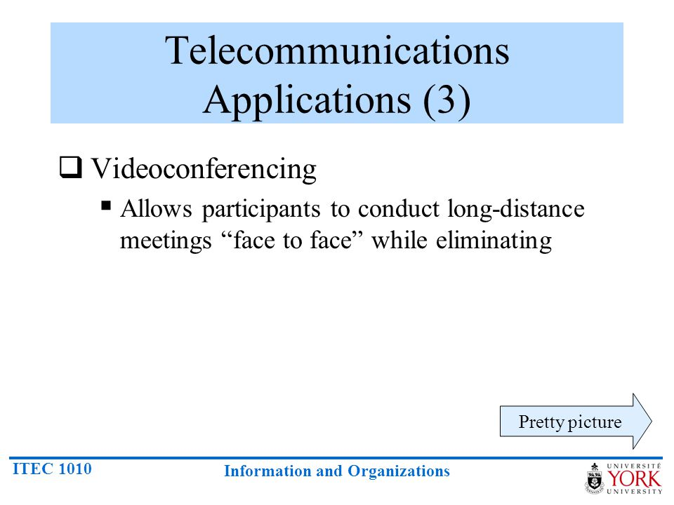 ITEC 1010 Information and Organizations Telecommunications Applications (3) Videoconferencing Allows participants to conduct long-distance meetings fa