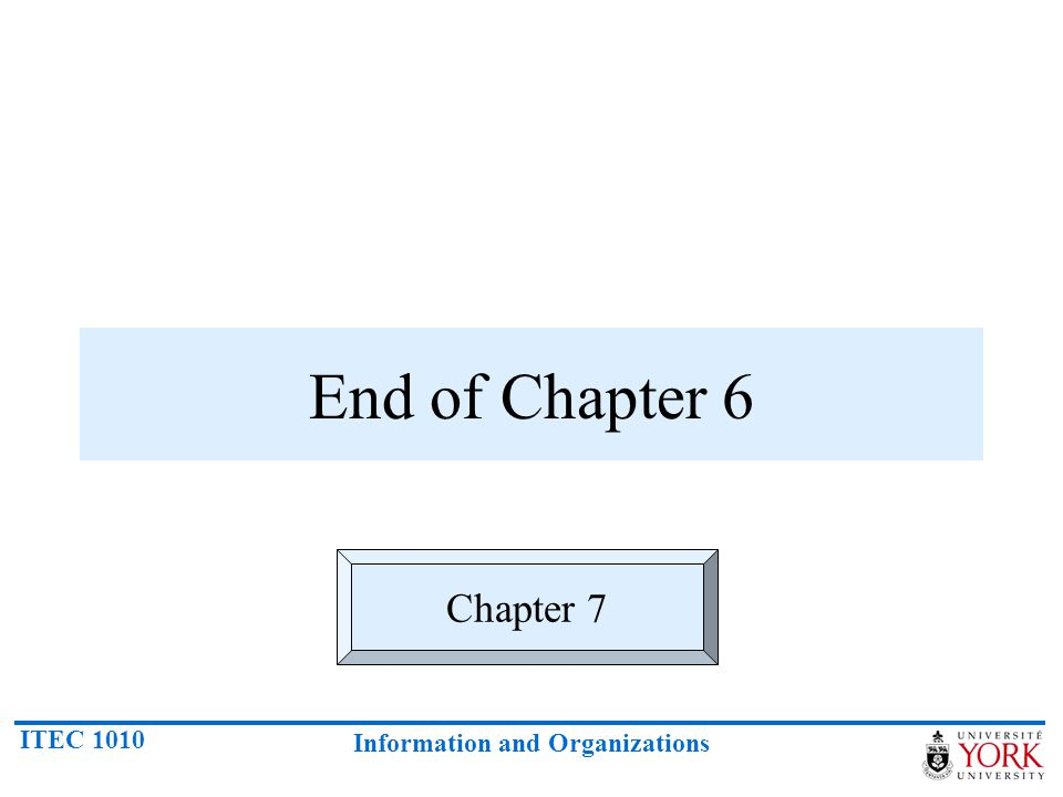 ITEC 1010 Information and Organizations End of Chapter 6 Chapter 7