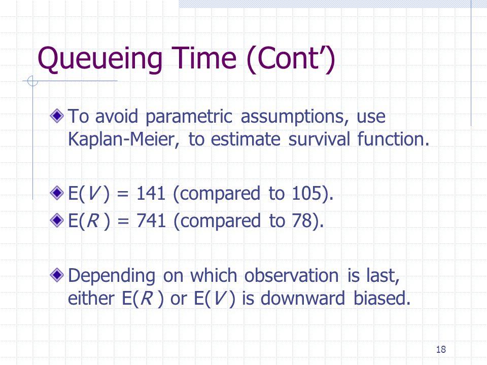 18 Queueing Time (Cont) To avoid parametric assumptions, use Kaplan-Meier, to estimate survival function.