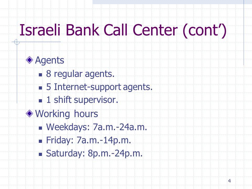 4 Israeli Bank Call Center (cont) Agents 8 regular agents.