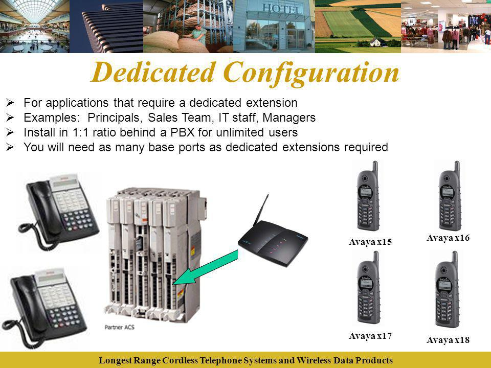 Longest Range Cordless Telephone Systems and Wireless Data Products Dedicated Configuration For applications that require a dedicated extension Exampl