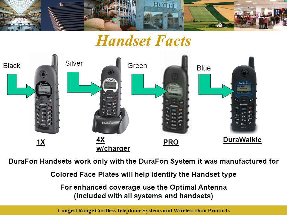 Longest Range Cordless Telephone Systems and Wireless Data Products Handset Facts Black Silver Green Blue 1X 4X w/charger PRO DuraWalkie DuraFon Hands