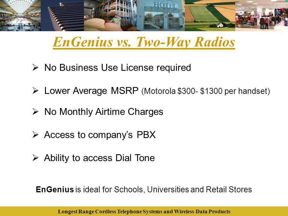 Longest Range Cordless Telephone Systems and Wireless Data Products EnGenius vs. Two-Way Radios No Business Use License required Lower Average MSRP (M