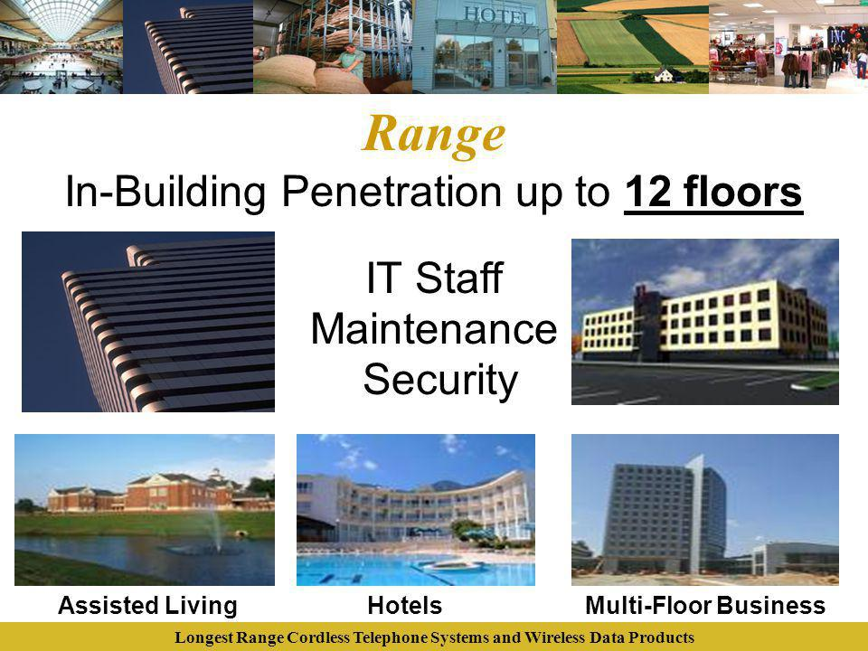 Longest Range Cordless Telephone Systems and Wireless Data Products Range In-Building Penetration up to 12 floors HotelsAssisted Living Maintenance Se