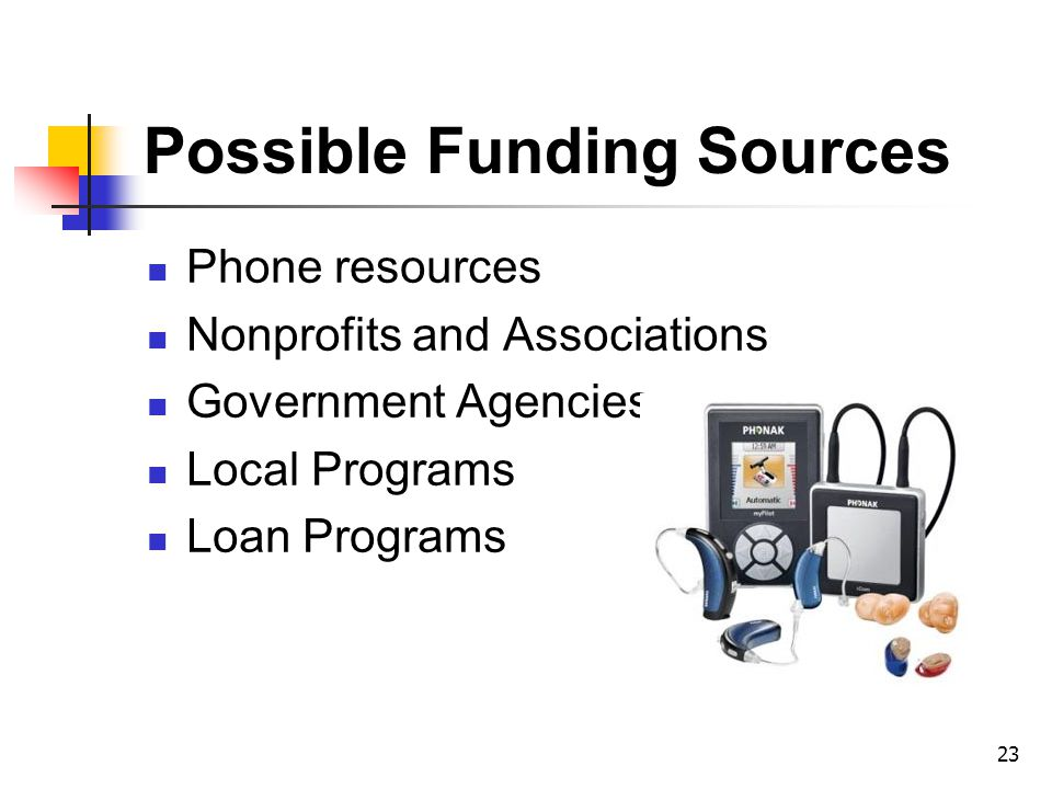 Phone resources Nonprofits and Associations Government Agencies Local Programs Loan Programs Possible Funding Sources 23
