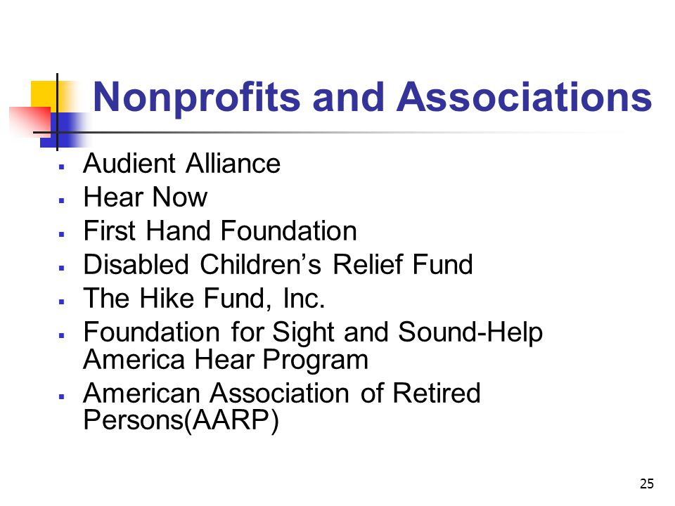 25 Audient Alliance Hear Now First Hand Foundation Disabled Childrens Relief Fund The Hike Fund, Inc. Foundation for Sight and Sound-Help America Hear