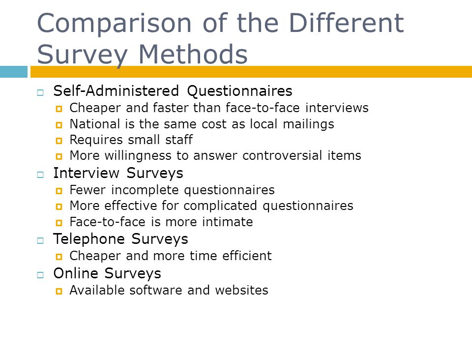 Comparison of the Different Survey Methods Self-Administered Questionnaires Cheaper and faster than face-to-face interviews National is the same cost