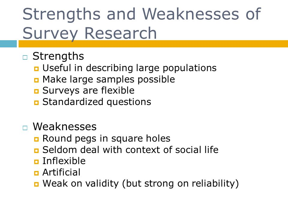 Strengths and Weaknesses of Survey Research Strengths Useful in describing large populations Make large samples possible Surveys are flexible Standard