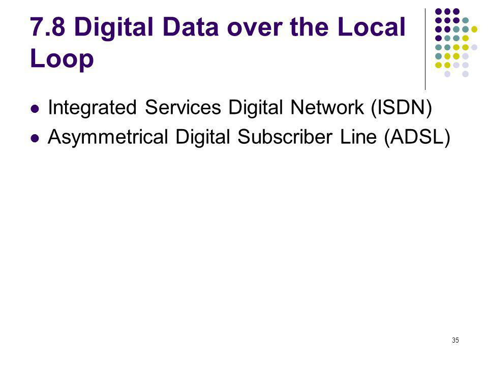 35 7.8 Digital Data over the Local Loop Integrated Services Digital Network (ISDN) Asymmetrical Digital Subscriber Line (ADSL)