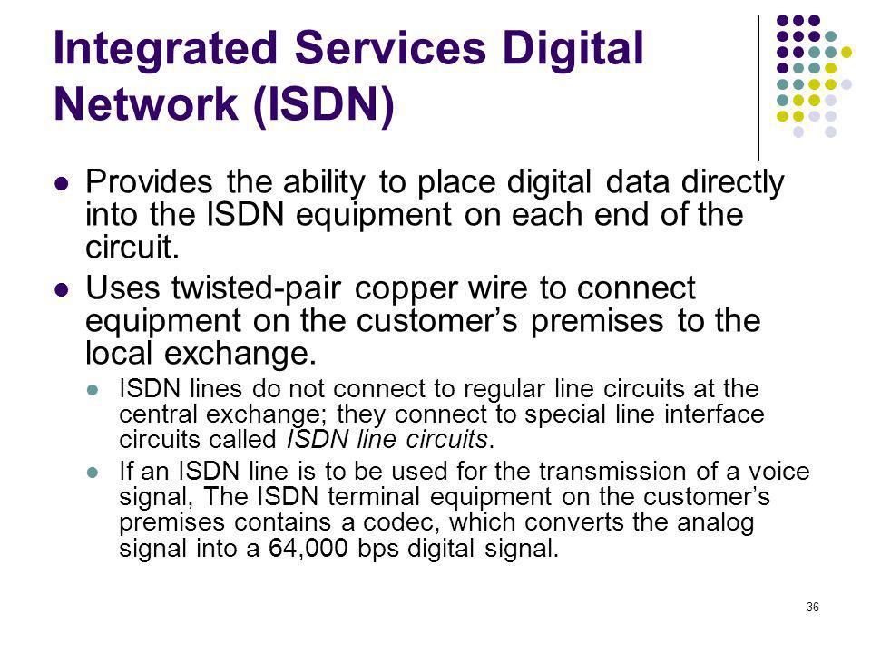 36 Integrated Services Digital Network (ISDN) Provides the ability to place digital data directly into the ISDN equipment on each end of the circuit.