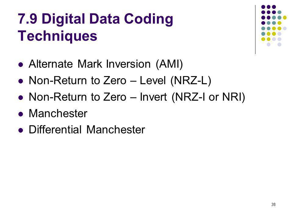 38 7.9 Digital Data Coding Techniques Alternate Mark Inversion (AMI) Non-Return to Zero – Level (NRZ-L) Non-Return to Zero – Invert (NRZ-I or NRI) Man
