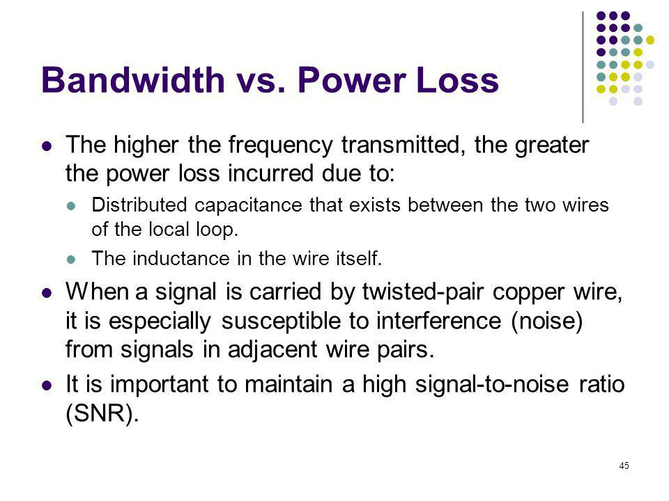 45 Bandwidth vs. Power Loss The higher the frequency transmitted, the greater the power loss incurred due to: Distributed capacitance that exists betw