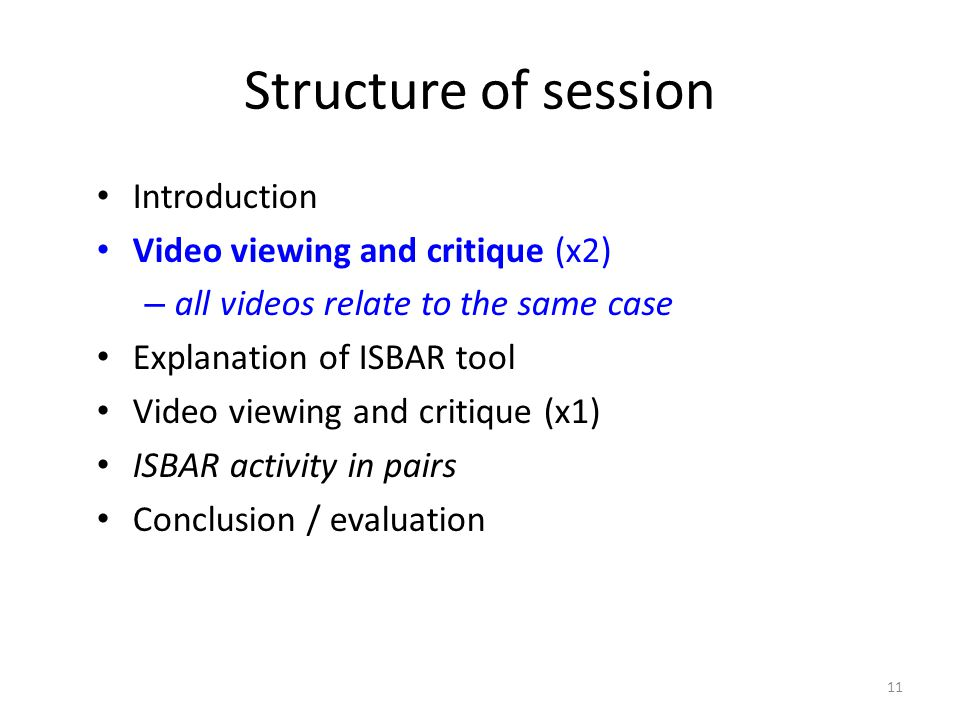 11 Structure of session Introduction Video viewing and critique (x2) – all videos relate to the same case Explanation of ISBAR tool Video viewing and