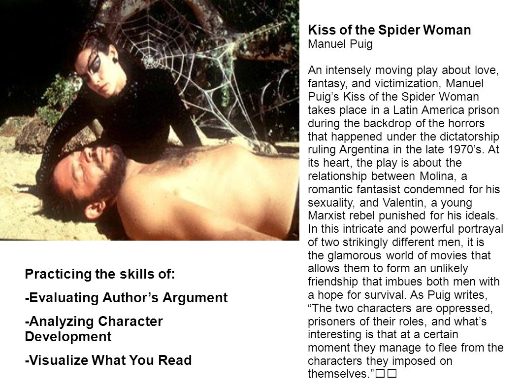 Kiss of the Spider Woman Manuel Puig An intensely moving play about love, fantasy, and victimization, Manuel Puigs Kiss of the Spider Woman takes place in a Latin America prison during the backdrop of the horrors that happened under the dictatorship ruling Argentina in the late 1970s.