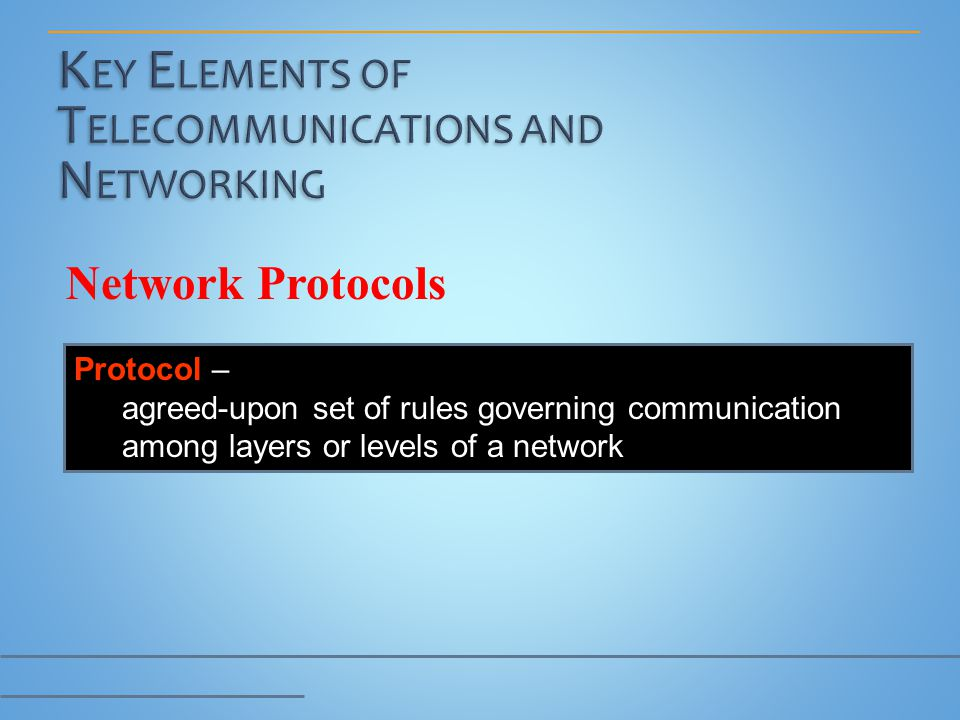 Network Protocols Protocol – agreed-upon set of rules governing communication among layers or levels of a network