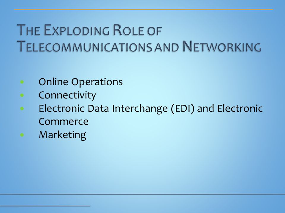Online Operations Connectivity Electronic Data Interchange (EDI) and Electronic Commerce Marketing