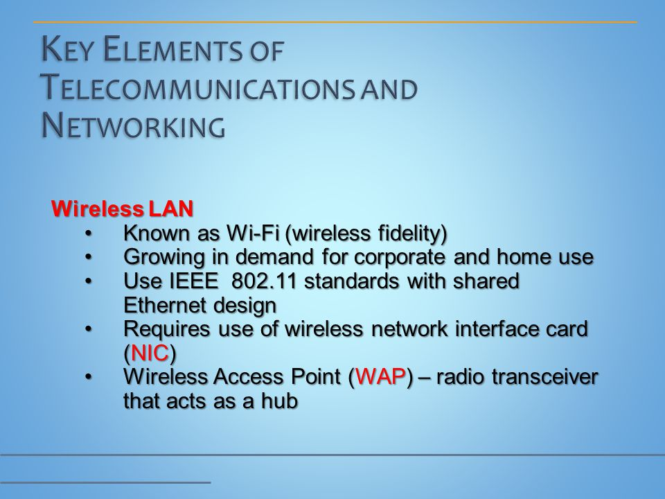Wireless LAN Known as Wi-Fi (wireless fidelity)Known as Wi-Fi (wireless fidelity) Growing in demand for corporate and home useGrowing in demand for co