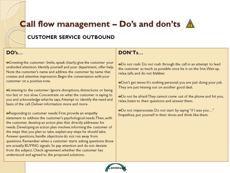 Call flow management – Dos and donts DOs… Greeting the customer: Smile, speak clearly; give the customer your undivided attention. Identify yourself a