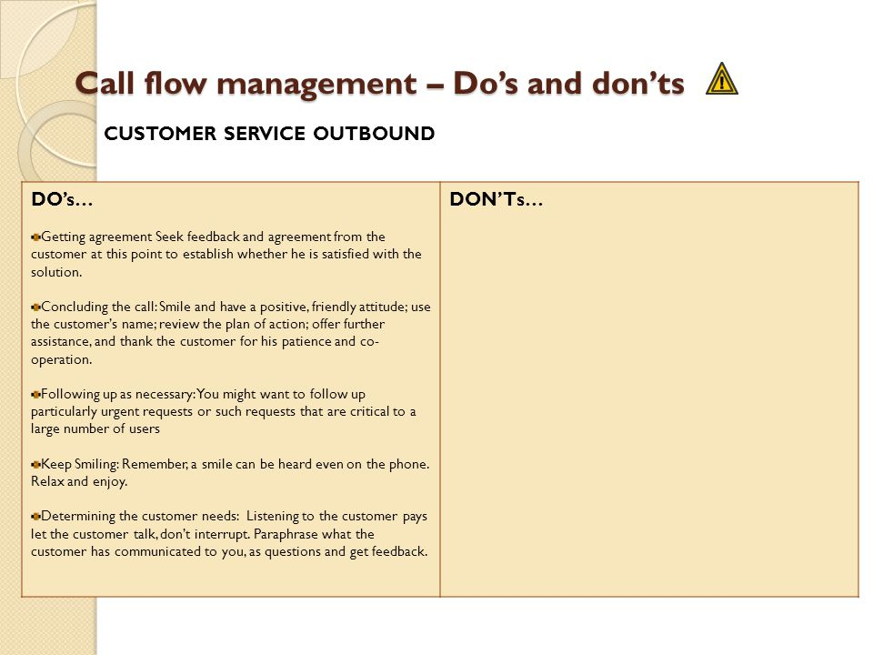 Call flow management – Dos and donts DOs… Getting agreement Seek feedback and agreement from the customer at this point to establish whether he is sat