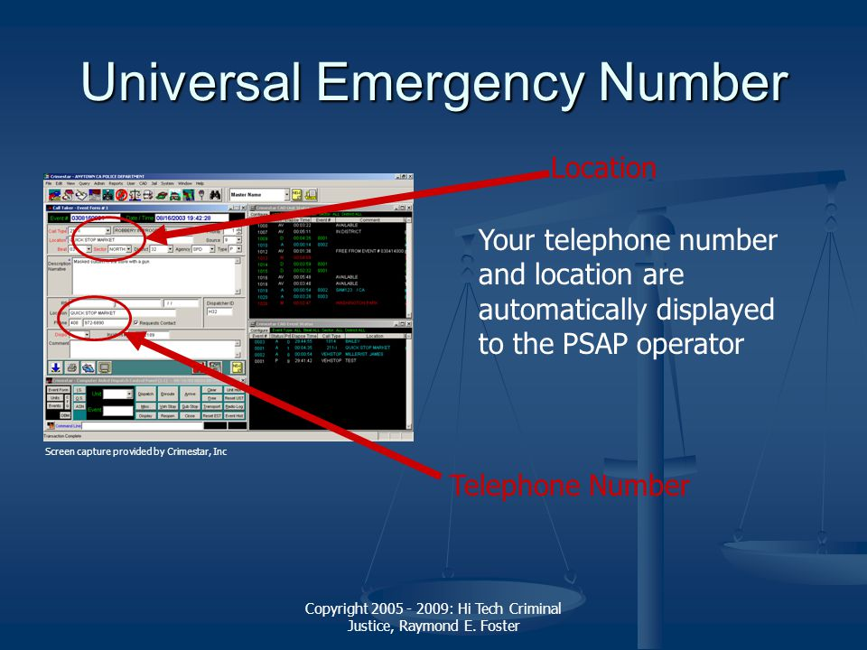 Copyright 2005 - 2009: Hi Tech Criminal Justice, Raymond E. Foster Universal Emergency Number Your telephone number and location are automatically dis