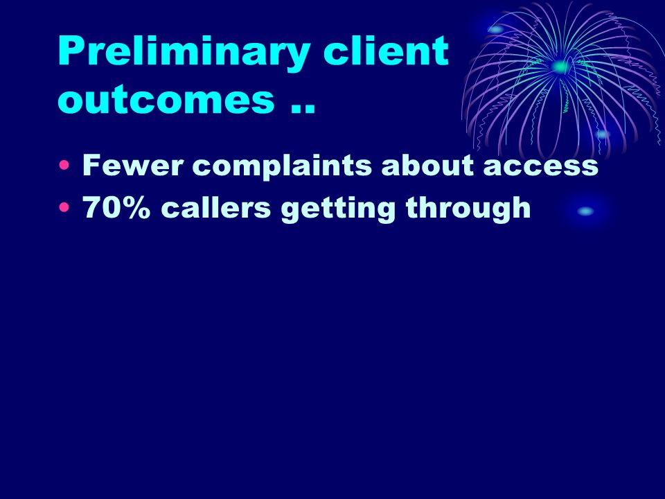 Preliminary client outcomes.. Fewer complaints about access 70% callers getting through
