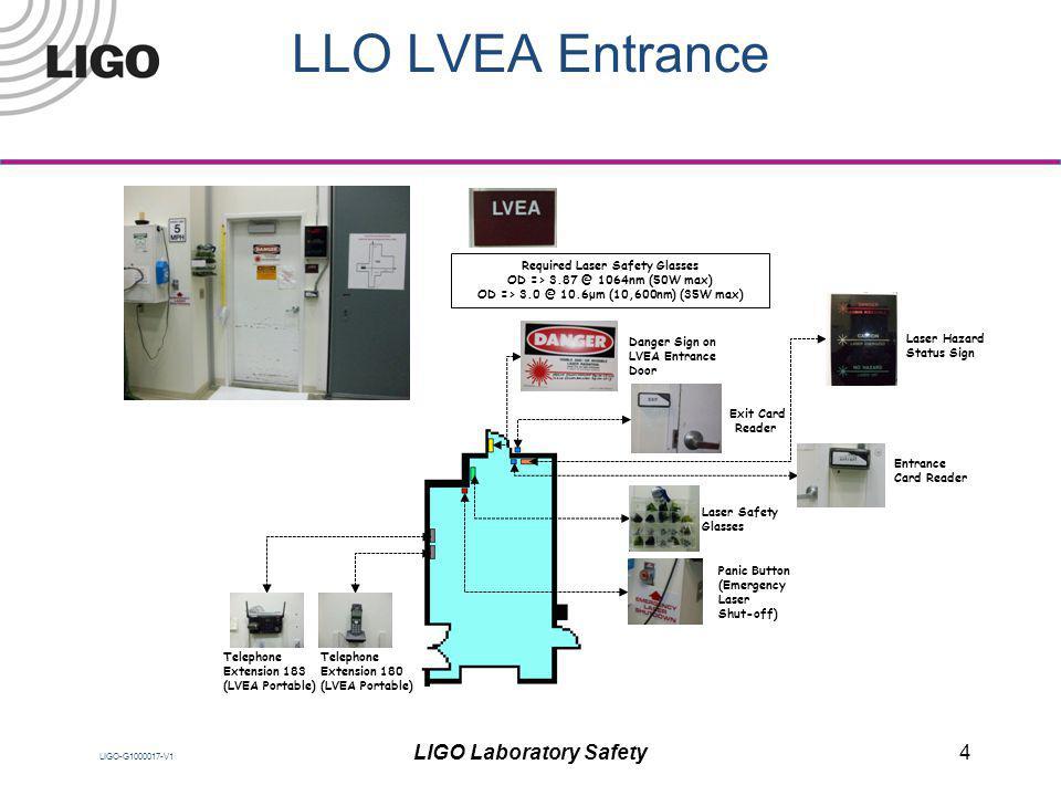 LIGO-G1000017-V1 LLO LVEA Entrance Exit Card Reader Entrance Card Reader Laser Safety Glasses Laser Hazard Status Sign Telephone Extension 183 (LVEA P