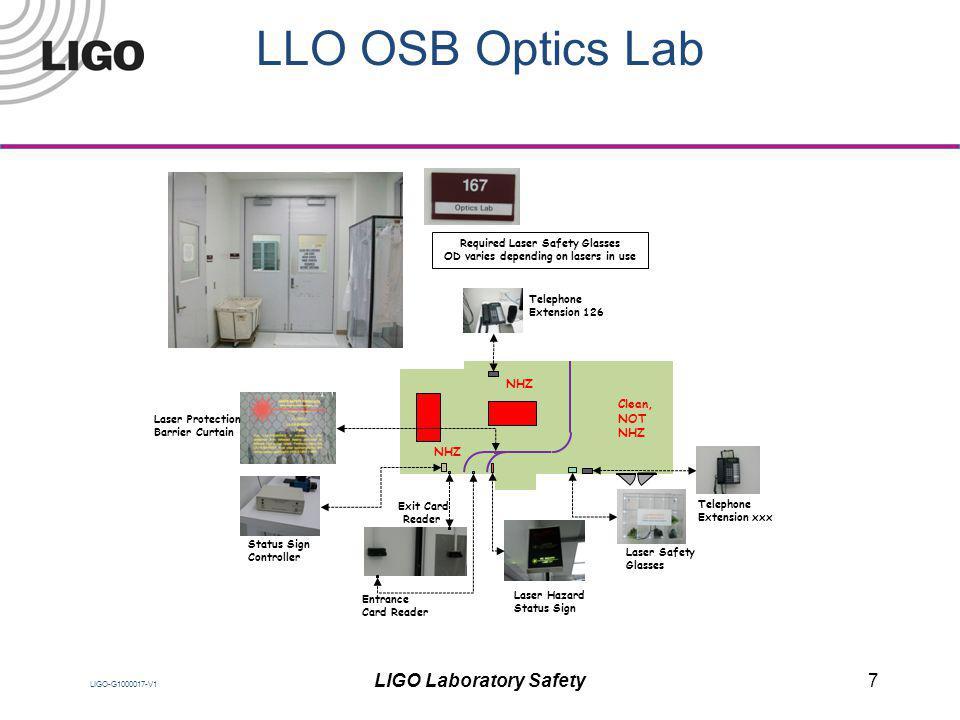 LIGO-G1000017-V1 LLO OSB Optics Lab NHZ Clean, NOT NHZ Exit Card Reader Entrance Card Reader Laser Safety Glasses Laser Hazard Status Sign Telephone E
