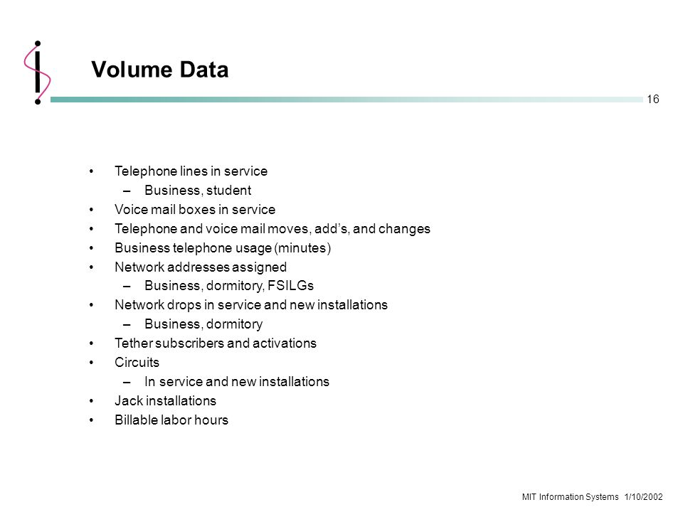 16 MIT Information Systems 1/10/2002 Volume Data Telephone lines in service –Business, student Voice mail boxes in service Telephone and voice mail mo