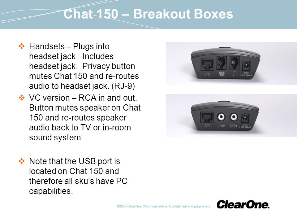 Chat 150 – Breakout Boxes Handsets – Plugs into headset jack.