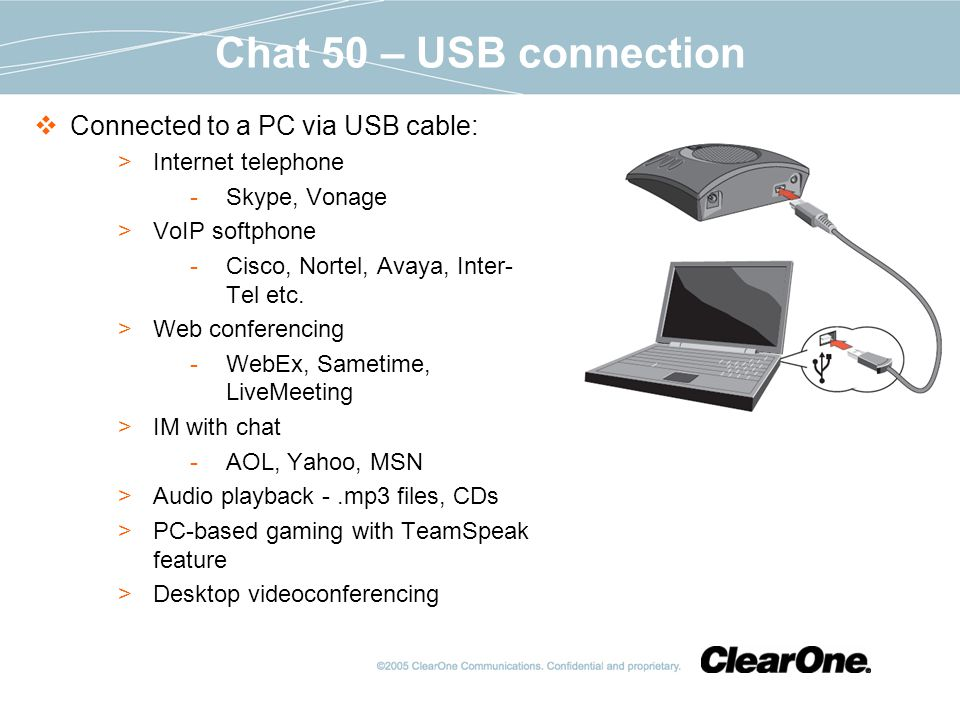 Chat 50 – USB connection Connected to a PC via USB cable: Internet telephone Skype, Vonage VoIP softphone Cisco, Nortel, Avaya, Inter- Tel etc.