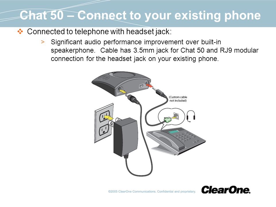 Chat 50 – Connect to your existing phone Connected to telephone with headset jack: Significant audio performance improvement over built-in speakerphone.