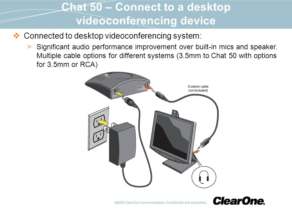 Chat 50 – Connect to a desktop videoconferencing device Connected to desktop videoconferencing system: Significant audio performance improvement over built-in mics and speaker.